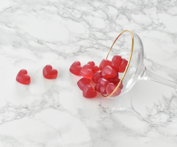 Sweetkynd Rosé vingummi hindbær hjerter