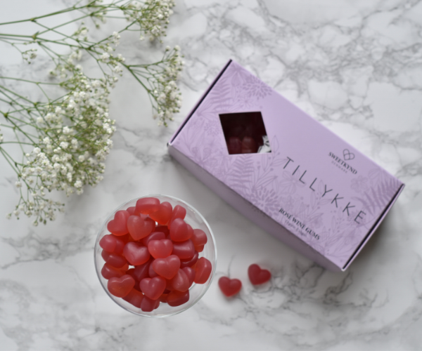 Sweetkynd Tillykke gaveæske rosé vingummi